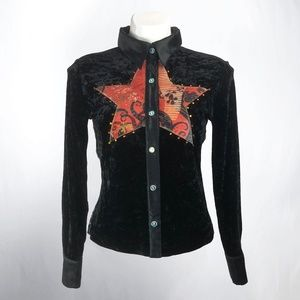 Love Amour Velvet Star Dragon Button Up Shirt
